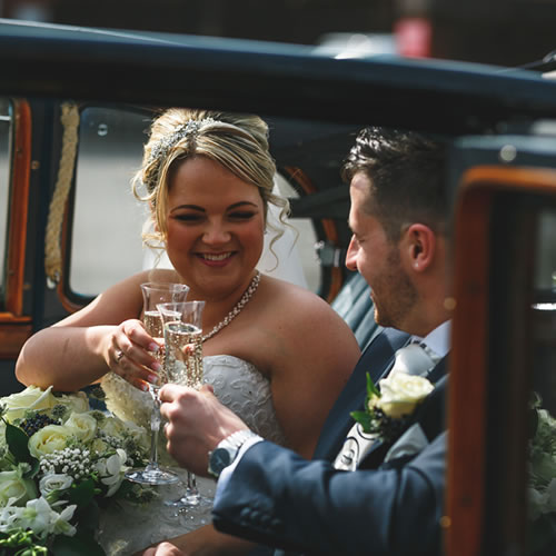 Amelia and Martin with our vintage Daimler wedding testimonial