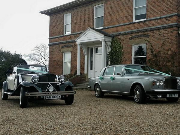 Beauford Tourer with our silver Rolls Royce Wraith
