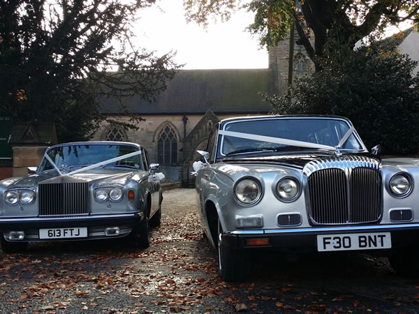 Silver Rolls Royce with our black over silver Daimler Limousine